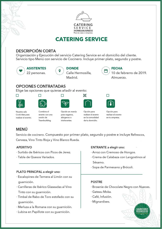 Ejemplo 2 de Catering Service