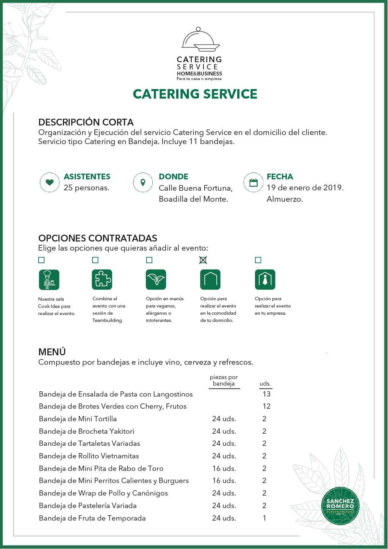 Ejemplo 1 de Catering Service